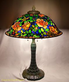 My latest piece. Tiffany Reproduction Poppy Dome Tiffany Reproduction Banded daffodil I& decided to repost my l. Stained Glass Paint, Stained Glass Designs, Stained Glass Windows, Leaded Glass, Chandeliers, Chandelier Lamp, Antique Lamps, Vintage Lamps, Tiffany Lamp Shade