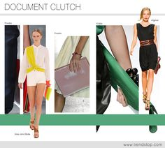 S/S 2013 DOCUMENT CLUTCH  Large enough for an iPad or laptop, these document clutches are business appropriate as well as practical and stylish. Multi sectioned for the ultimate organization these structured envelope shapes come with color blocked panels as well as metal corner tip finishing to add interest.