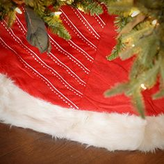 Christmas Ltd 56 Red  White Striped Velvet Tree Skirt With Plush Border ** You can find more details by visiting the image link.