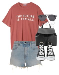 """outfit for summer with denim shorts"" by ferned ❤ liked on Polyvore featuring StyleNanda, Alexander Wang, MANGO, Converse, Forever 21 and Christian Dior"