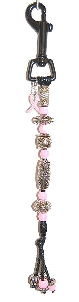 Count'EM - Ladies Golf Stroke Counters (Pink Ribbon Charm - Pink/Silver - Beaded Golf Counters )