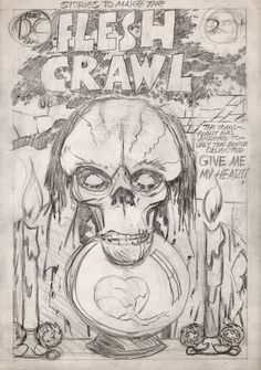 Stories To Make The FLESH CRAWL #1 Unpublished Penciled D.C. Cover (1972-1973) Comic Art For Sale By Artist Jack Kirby at Romitaman.com
