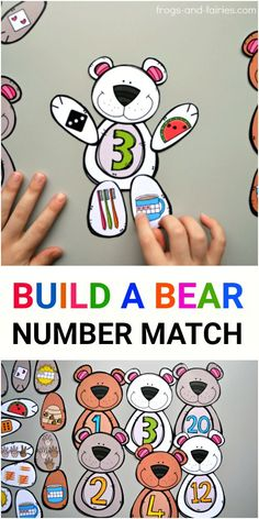 This cute Build a Bear Number Match printable will help your kids build a strong number sense! Your kids will build the number bears by counting the bees, watermelon seeds, fingers on a hand, dots on a hot cocoa tens frame, toothbrush and carrot shaped ta Math Classroom, Classroom Activities, Teaching Math, Learning Activities, Preschool Activities, Kids Learning, Kindergarten Math Stations, Literacy Centers, Number Sense Kindergarten