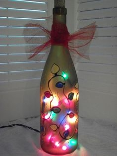 Wine Bottle Christmas Lights | Hand Painted Recycled Wine Bottle Light by handcraftsbyteresa
