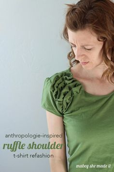 This tutorial for an anthropologie-inspired t-shirt refashion is so fun and pretty simple. It doesn't even require any additional fabric.