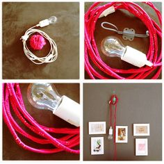 DIY: How to wrap an ordinary lamp cord into a unique colorful one.