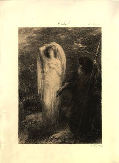 Évocation d'Erda (1885), lithograph by Henri Fantin-Latour (1836-1904), from Act 3 of Siegfried (1871), by Richard Wagner (1813-1883).