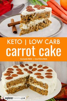 Get the BEST recipe for a Keto Carrot Cake, packed with cinnamon, spices, pecans, and a hint of orange. Gluten-free and made with almond and coconut flours, topped with sugar-free cream cheese frosting, this may be your next favorite low carb dessert! Keto Friendly Ice Cream, Keto Ice Cream, Low Carb Desserts, Low Carb Recipes, Low Carb Carrot Cake, Lower Carb Meals, Cake Recipes, Dessert Recipes, Batch Cooking