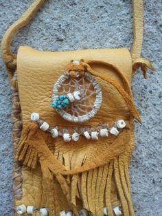Handmade native american deerskin medicine bag.