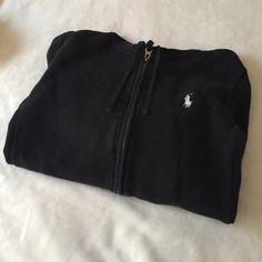 Ralph Lauren Sport Black Sweater Used Ralph Lauren black zip-up hooded sweater. Black color is faded from use throughout. 100% cotton. Ralph Lauren Sport Sweaters