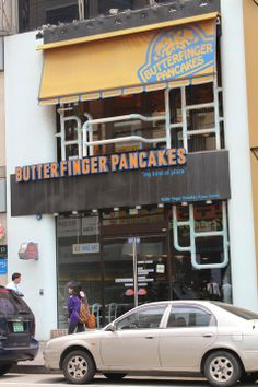 Butterfinger Pancakes (Gangnam branch) 88-9 Cheongdam-dong Gangnam-gu, Seoul (Address in Korean: 서울시 강남구 청담동 88-9번지)  Opening hours: 7.00a.m. to 3.00a.m. daily (Not a typo.)  Directions: Take Exit 10 out of Gangnam station (Line 2) and walk straight till you see The Body Shop. Turn left into the lane right next to Body Shop and keep going straight for about 2 minutes. Butterfinger Pancakes will be on your left. click the link for more information :)