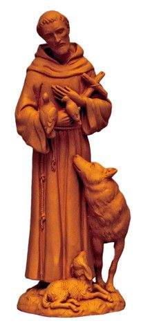 Saint Francis With Wolf Terracotta Statue From Italy