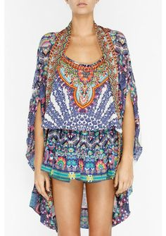 Peacock mini dress with sleeves