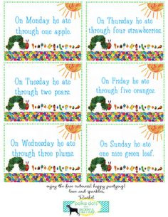 very hungry caterpillar FREE printable food labels!  there are 3 different pages to download
