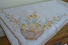 Vintage Hand Embroidered Square Linen by alltheseprettythings, £15.00