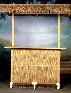 Our basic portable Tiki Bar includes a weaved palapa palm roof and one shelf… Bamboo Bar, Faux Bamboo, Tikki Bar, Surfboard Table, Bbq Shed, Hawaian Party, Sailboat Living, Luau, Bar Games