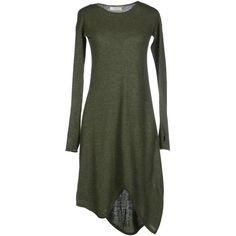 Manostorti Short Dress ($80) ❤ liked on Polyvore featuring dresses, short dress, military green, merino dress, long sleeve short dress, long sleeve mini dress, long-sleeve mini dress and olive green dress