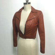 My Vesties Wish List Item Leather biker jacket  vintage 1970s juniors rust by RecentHistory