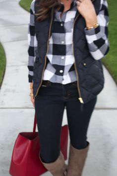 Navy Buffalo Plaid, Dark Denim Skinnies, Tall Suede Boots, Maroon Tote, Gap, Old Navy, Banana Republic, J.Crew 21