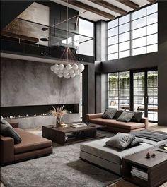 Apartment Interior, Home Living Room, Interior Design Living Room, Living Room Modern, Living Room Decor, Luxury Living Rooms, Contemporary Living Room Designs, Contemporary Houses, Modern Interior Design