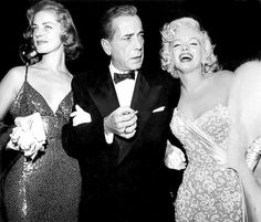 Lauren Bacall, Humphrey Bogart and Marilyn Monroe at the premiere of How to Marry a Millionaire, 1953