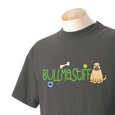 Bullmastiff Doodle Garment Dyed Cotton Tshirt by WryToastDesigns, $25.00
