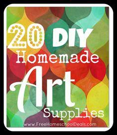 Homemade Art Supplies--20 DIY homemade art supplies (face/body paint, koolaid playdoh, colored sand,sidewalk chalk, homemade glitter using salt, window paint, and more!)