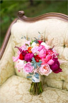 peonies and garden rose wedding bouquet