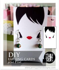 Earring Card Template Design - Jenny Gollan Designs