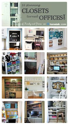 16 Stunning Closets turned Home Offices. If you are looking for closet office ideas, this post is full of inspiration.