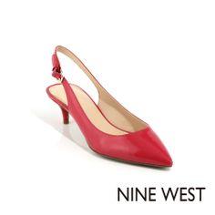 NINE WEST 俏麗新色當道 亮眼尖頭漆皮後拉帶低跟鞋~自然苺紅 - Yahoo!奇摩購物中心
