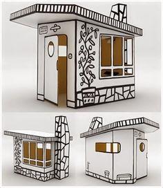 Magis cardboard playhouse, villa julia, designed by Spanish designer, Javier Mariscal. Cardboard Box Houses, Cardboard Playhouse, Cubby Houses, Cardboard Paper, Cardboard Furniture, Cardboard Crafts, Paper Houses, Play Houses, Doll Houses