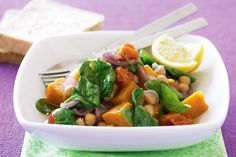Super-healthy vegetables bathe alongside protein-rich chickpeas in this easy vegetarian winter warmer.
