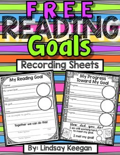 FREE reading goals recording sheets.