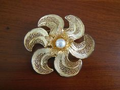 Vintage Sterling Silver 925 Filigree Signed Topazio Portugal Pearl Brooch Pin | eBay