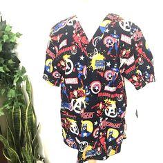 Marvel Medium Nurse Uniform Medical Scrub Top Work Professional Iron Man Avenger #Marvel