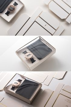 Watch and cardholder fold-up box.