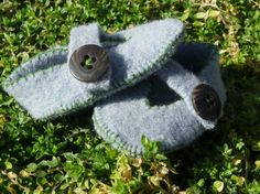 Repurposed Wool Blue Felt Baby Boy Shoes by olivegiggles on Etsy, $15.00