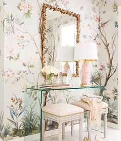 Delicate parisian entrway  gold and pink furniture and acrylic console