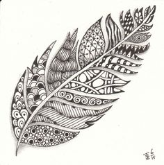 A zentangle feather made by Francine Derks CZT A zentangle feather made by Francine Derks CZT 17 Feather Drawing, Feather Painting, Feather Art, Feather Tattoos, Bird Tattoos, Easy Mandala Drawing, Mandala Art Lesson, Zentangle Drawings, Zentangle Patterns