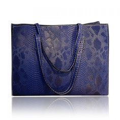 Trendy Snake Print and PU Leather Design Women's Shoulder Bag, BLUE in Shoulder Bags | DressLily.com