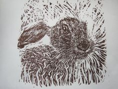 THE YOUNG HARE Original Linocut print by Monnowprints on Etsy