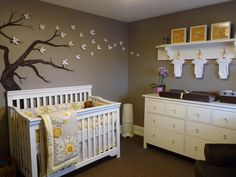 Kimberly Murdoch - Gender neutral nursery with hand painted chalkboard tree.