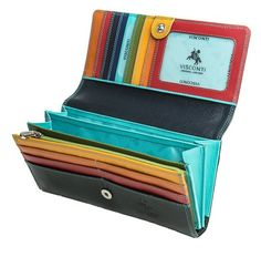 If you are a dynamic young girl , you can not ignore this wallet. Made from soft leather, you will feel comfortable in your hand. Especially the colors. These colorful will attract you from the first sight. You will be fooled by the black outside but be surprised by interior colors. A wallet impressive is not it! - http://9wallets.com/best-beautiful-checkbook-wallets-women-sale/