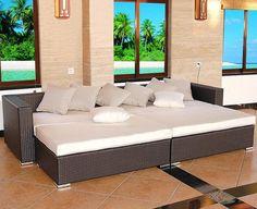 Modern Outdoor 4 Piece Brown Wicker Sofa Set