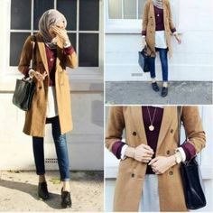 trench-coat-hijab-chic- Winter hijab trends http://www.justtrendygirls.com/winter-hijab-trends/