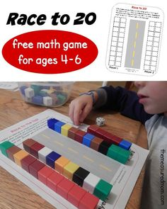 Play this free Race to 20 math game to practice counting, addition, adding on, and comparing sets.