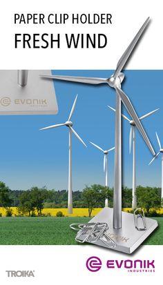 TROIKA FRESH WIND - EVONIK engraving. Paper clip holder wind turbine *** Büroklammerhalter Windrad