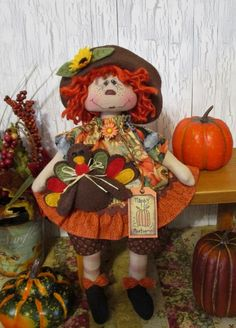 "13"" Primitive Raggedy Ann doll Fall theme painted face, felt turkey, sunflowers  #NaivePrimitive"
