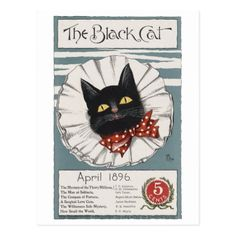 The Black Cat Unknown artist Postcard - postcard post card postcards unique diy cyo customize personalize